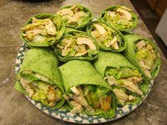 Chicken Ceasar Salad Wraps on Spinach Tortilla.