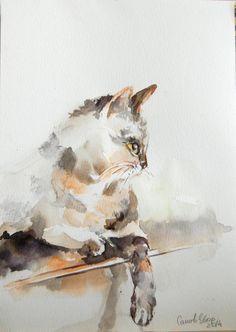 Cat Painting Original Watercolor Painting Cat Art by CanotStop, $84.00