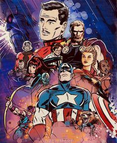 "Marvel + MCU — ""Avengers: Endgame / Old Comic Design"" by DrawmaRt Marvel Dc Comics, Marvel Avengers, Avengers Earth's Mightiest Heroes, Bd Comics, Marvel Fan, Marvel Heroes, Avengers Cartoon, Avengers Poster, First Superhero"