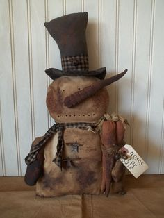 Primitive Grungy Snowman Christmas Doll & His Batch of Carrot Noses For Sale #NaivePrimitive