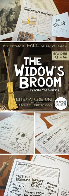 "A literature unit for ""The Widow's Broom,"" by Chris Van Allsburg. In-depth and fun! Perfect for the week of Halloween! (Gr. 2-4) $"