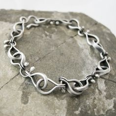 Sterling Silver Link Bracelet. by coldfeetjewelry on Etsy,