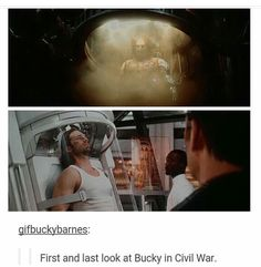 This parallel is amazing and hurts me because the first pic is not him, it's just a machine being brought to life. While second picture is the real him when he again went under but this time WITH his consent.