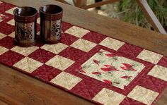 Quilted Winter Table Runner  Red Cream Table by RedNeedleQuilts