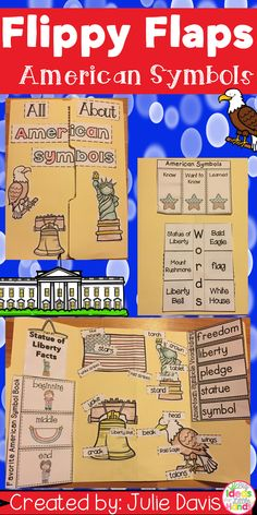 Help your students learn all about some famous American Symbols with this fun, hands-on, interactive notebook! Your students will love learning about the American Flag, Statue of Liberty, Liberty Bell, Bald Eagle, and so much more! Your students will be engaged and learn about American Symbols in many different ways and will have a keepsake to bring home and share with their families!  What activities are included: ✭ Statue of Liberty looks like/stands for/came from ✭ Label Statue of Liberty