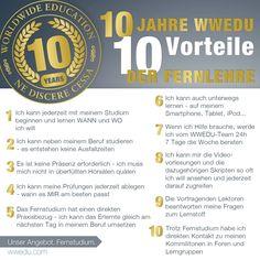 10 Jahre WWEDU - 10 Vorteile der Fernlehre Ipod, Professor, Group, Board, 10 Years, Benefits Of, First Aid, Studying