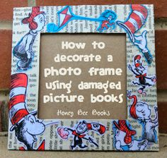 Use the are you my mother book Mother's Day Gift Idea: Decorating a photo frame using damaged picture books! Cute Crafts, Crafts To Make, Easy Crafts, Crafts For Kids, Frame Crafts, Book Crafts, Paper Crafts, Homemade Gifts, Diy Gifts