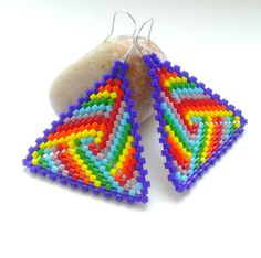 Beadwork Rainbow Earrings-Beaded Triangle Delica by Galiga on Etsy