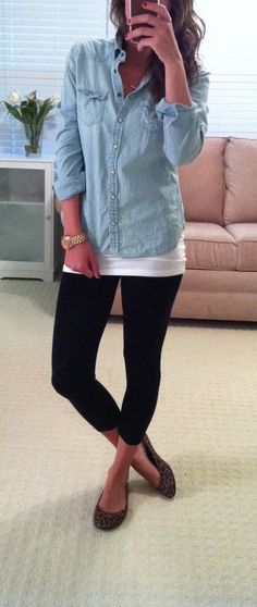 Leggings, long white tank, denim shirt, leopard flats.