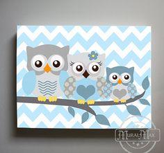 Owl Decor Boys wall art  Owl canvas art  Owl Nursery  by MuralMAX, $51.00