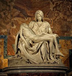 Michelangelo, Florence: The Pietà, 1498 is a masterpiece of Renaissance sculpture  in Vatican City. Michelangelo completed the Pieta when he was only 24 years old. Sculture means he chips away at a raw block of marble until the figure appears that is in his head.