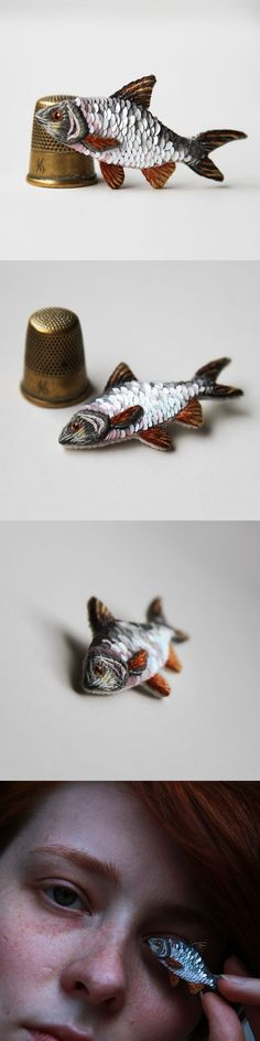 Sequins embroidered fish brooch, embroidered jewelry, miniature realistic embroidery, textile taxidermy