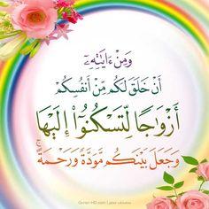 ٢١- الروم Quran Quotes Inspirational, Arabic Quotes, Islamic Quotes, Islam Hadith, Islam Quran, Quran Quotes In English, Marriage Issues, Quran Arabic, Noble Quran