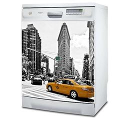Stickers - Ganumaï - Stickers Lave-vaisselle NewYork - Flatiron Building et Taxi