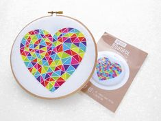 Rainbow Heart Embroidery Fabric Pattern Beginner Emboridery Kit Modern Geometric Needle Craft LGBT DIY Gift Rainbow Baby Nursery Decor by OhSewBootiful #embroidery #needlework #embroiderypattern #hoopart #diyembroidery #diyhoopart #embroiderykit #needlework #diygift #giftforcrafter