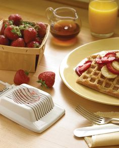 An egg slicer can perform more than one function in the kitchen. Use it to quickly and cleanly cut soft fruits, such as strawberries or bananas. The fruit slivers can be used to garnish waffles, pancakes, French toast, and oatmeal.