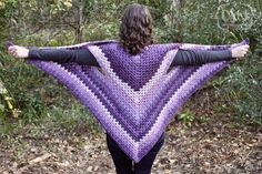 Free Crochet Pattern from the Snugglery - Striped Granny Stitch Caron Cakes Triangle Shawl - great beginner pattern using Caron Cakes self-striping yarn
