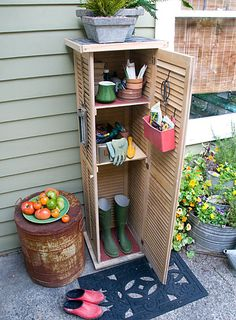Make a repurposed storage space using shutters