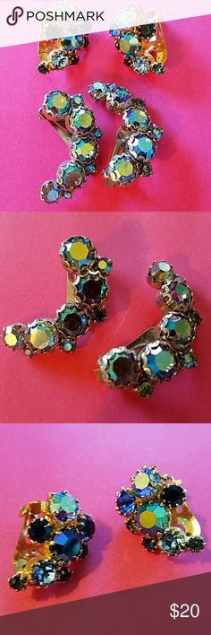 """VINTAGE AURORA BOREALIS RHINESTONE EARRINGS 2 PAIR Blue in color. Clip Small PAIR gold tone finish ( 1 back a little loose, still stays on ear) Crescent shape SILVER tone 1 1/4"""" Jewelry Earrings"""