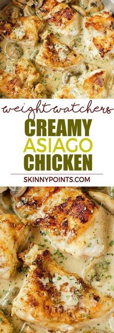 Creamy Asiago Chicken - Weight watchers Smart Points Friendly This recipe has potential. Sauce didn't thicken so might need some cornstarch or more time to reduce. Also recipe didn't tell when to add salt and pepper. Ww Recipes, Skinny Recipes, Cooking Recipes, Healthy Recipes, Recipies, Cooking Time, Low Cal Chicken Recipes, Healthy Food, Easy Cooking