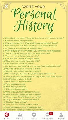 Writing Your Personal History Creative Writing, Writing Tips, Topics For Writing, Memoir Writing, Writing Inspiration, Journal Inspiration, Creative Inspiration, Journal Writing Prompts, Journal Prompts For Teens