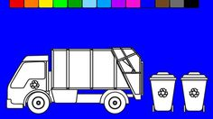 Learn colors for kids with garbage truck coloring pages | Fun coloring v...