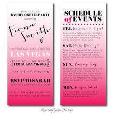 Fun Ombre Pink Weekend Bachelorette Party by BrittanyGarnerDesign, $25 ...