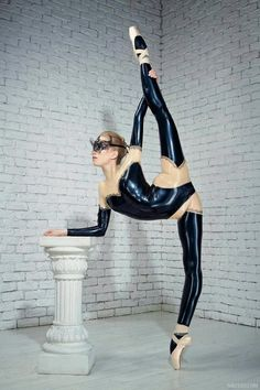 standing splits...yoga & ballet and in latex