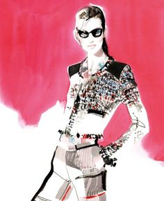 Fashion Illustration by David Downton, 2011, tweed jacket, check trousers and floral blouse by MSGM at Fenwick.