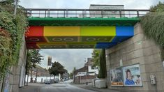 The Lego Bridge in Wuppertal, Germany is actually a concrete beam bridge repainted in 2011 in the style of Lego bricks by graffiti and street artist Martin Heuwold. (Wikimedia/Morty)