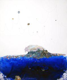 "Pam Longobardi ""Eye of the Ocean"" 2008 Devalued currency, ink, glass"