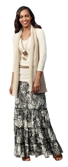 CAbi's Saunter Skirt, and Gather Tee, and Vested Sweater. I also love this look with the CAbi Circle Sweater too. Both are great. The Skirt Can be worn as a dress and is adorable when belted!