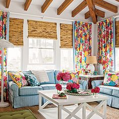 Custom curtains and pillows in Heritage Floral fabric by Lilly Pulitzer for Lee Jofa  CoastalLiving.com