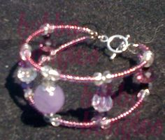 Child Size Purple and White Swarovski Crystal Bangle with Purple Czech Beads and Amethyst focal with metal bead caps by Bubba Bangles