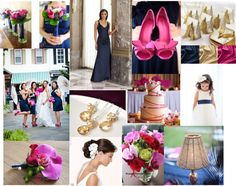 Wedding Inspiration Board Photos :  wedding navy gold and fuchsia pink inspiration Inspirationpic2