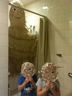"""""""Bigfoot"""" was hiding in the shower at school! Lol!!"""