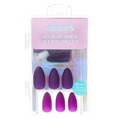There are three kinds of fake nails which all come from the family of plastics. Acrylic nails are a liquid and powder mix. They are mixed in front of you and then they are brushed onto your nails and shaped. These nails are air dried. Claire's Fake Nails, Claire's Nails, Fake Nails For Kids, Kiss Nails, Glue On Nails, Cute Nails, Pretty Nails, Acrylic Nails, Makeup Brush Storage