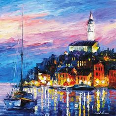 ~$200 OIL ON CANVAS PAINTING DIRECTLY FROM FAMOUS ARTIST LEONID AFREMOV Title: Blue Port Size: 24 x 24 inches (60 cm x 60 cm) Condition: Excellent Brand new Gallery Estimated Value: $ 6,500 Type: Original Recreation Oil Painting on Canvas by Palette Knife