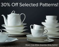 30% off on selected patterns this weekend! http://noritakechina.com/30-off-patterns.html  Free shipping on orders in the contiguous US, over $25. Offers cannot be combined or applied to past orders.Discount applied automatically in the shopping cart. Offer good while supplies last or until 4/25/16 at 11:59pm PDT. Rain checks are not available. USA only.