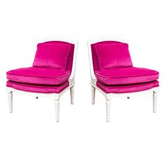 Plum Velvet Salon Chair Pair   From a unique collection of antique and modern armchairs at http://www.1stdibs.com/furniture/seating/armchairs/