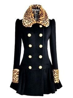 Navy Blue Coat For Women-Leopard Collar Winter Navy Blue Coat-Leopard Blazer Jacket Leopard Blazer, Leopard Coat, White Leopard, Black White, Coats For Women, Clothes For Women, Cheap Clothes, Trench Coat Style, Trench Coats