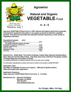 """Agrowinn's """"Vegetable Food"""" is a Natural and Organic plant food, scientifically formulated for gardeners that prefer to use organic products to feed their vegetable gardens. This complete, balanced plant food provides all of the essential nutrients required by a wide variety of vegetables and herbs. Agrowinn's """"Vegetable Food"""" is a living food for plants that contains many symbiotic micro-organisms that promote excellent growth."""