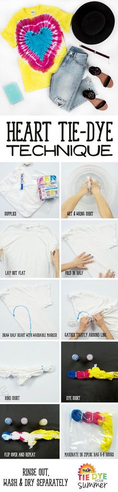 DIY your own heart tie dye tee using Tulip One-Step Tie Dye.  Style with you fave jeans, shorts, or layer for a cool summer look. This technique is the perfect pattern to make for the whole family!