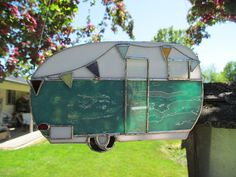 Stained Glass Suncatcher Canned Ham trailer Vintage Trailer