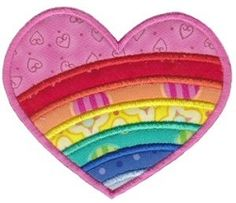 Striped Heart Applique - 2 Sizes! | Shapes | Machine Embroidery Designs | SWAKembroidery.com
