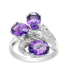 amethyst rings | ... Amethyst Ring Gemstone 7x5mm 925 sterling silver rings 3 Pcs