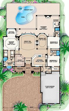 House Plan 1018-00054 - Mediterranean Plan: 3,089 Square Feet, 3-4 Bedrooms, 3…