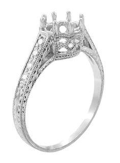 Royal Crown 1 Carat Antique Style Engraved 18 Karat White Gold Engagement Ring Setting