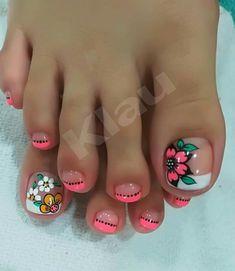 Pintado de uñas Cute Nail Art Designs, Pedicure Designs, Pedicure Nail Art, Toe Nail Designs, Toe Nail Color, Toe Nail Art, Nail Colors, Pretty Toe Nails, Cute Toe Nails