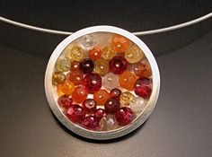 Geode Necklace: Orange and Red by Ashka Dymel (Silver and Stone Pendant) | Artful Home